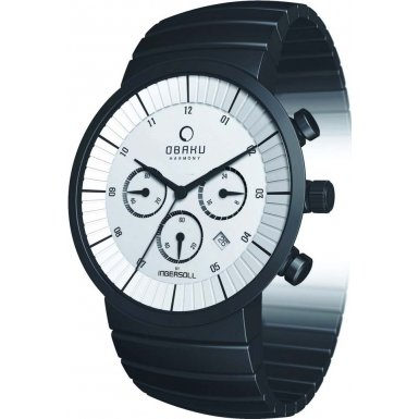 Obaku by Ingersoll gents chronograph black stainless steel bracelet watch