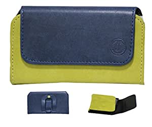 Jo Jo A4 Nillofer Belt Case Mobile Leather Carry Pouch Holder Cover Clip For Spice Smart Flo Mi 359 Dark Blue Parrot Green