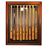 MLB League Logo Removable Face 9 Bat Display, Brown by Biggsports
