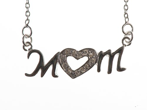 Silver 18 Inches Cubic Zirconia Heart Mum Necklet