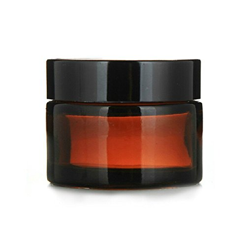 4pcs 1oz 30ml Empty Amber Glass Straight Sided Jar Cosmetic Containers Jars Plastic Black Lid (Glass Makeup Jars With Lids compare prices)