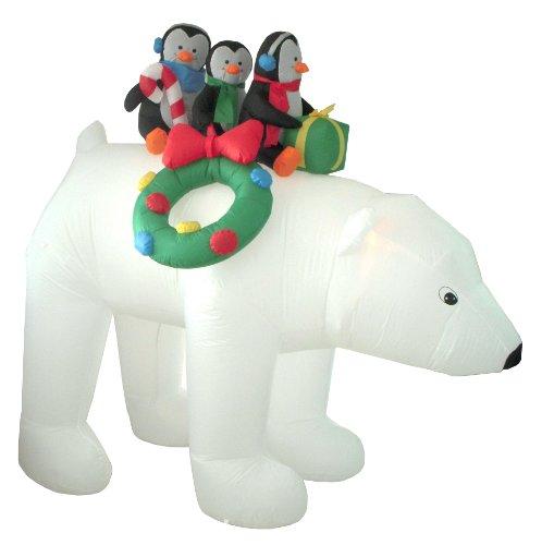 8 Foot Christmas Inflatable 3 Penguins on Polar Bear Yard Decoration