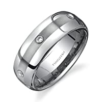 Rounded Edge Three Stone design CZ Diamond 8 mm Comfort Fit Mens Tungsten Wedding Band Ring Size 8 to 13 Free Shipping