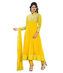 Priyanshu Creation Women's Net Yellow Dress Material