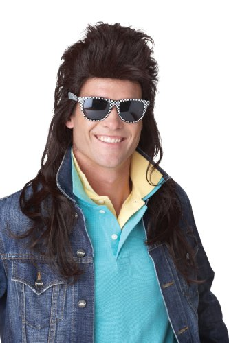 California Costumes 80S Rock Mullet Wig, Brown,