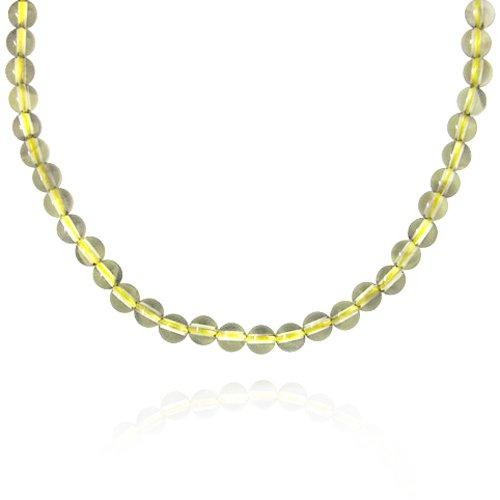 6mm Round Lemon Quartz Bead Necklace, 30+2