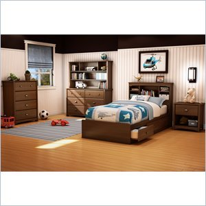 Cheap South Shore Nathan Kids Twin Mates Bed 5 Piece Bedroom Set in Sumptuous Cherry Finish (3356212-5PKG)