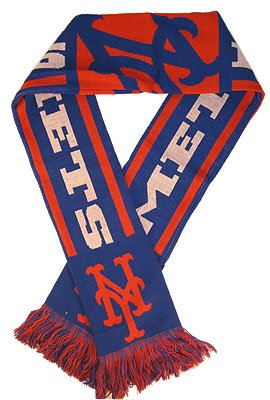 New York Mets Baseball Warm Woven Knit Stripe Team Scarf at Amazon.com