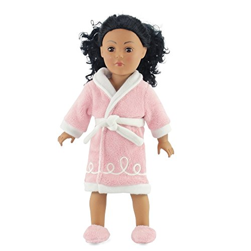 "18 Inch Doll Clothes/clothing Fits American Girl Dolls - Chenille Robe & Slippers 18"" Outfit"