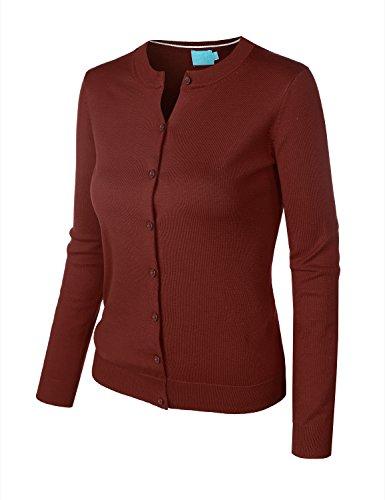 BIADANI Women Round Neck Button Down Soft Classic Knit Cardigan Sweater Wine Medium