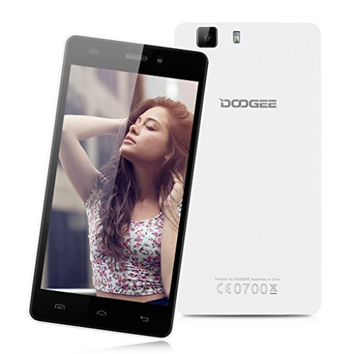"DOOGEE X5 Pro -- 4G Smartphone 5.0"" IPS Android 5.1 Lollipop MT6735 Quad Core 1.0GHz Cellulare Dual SIM 2GB RAM 16GB ROM DG Xender intelligente Wake Air Gesti GPS WIFI (Bianco)"