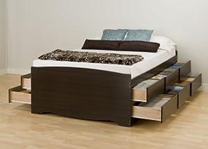 Prepac Espresso Tall Queen Platform Storage Bed (12-drawers)