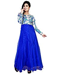 Rutva Fashion New Designer Blue Color Net Party-Festive Wear Gowns