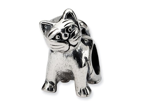 Reflections(tm) Sterling Silver Cat Bead / Charm