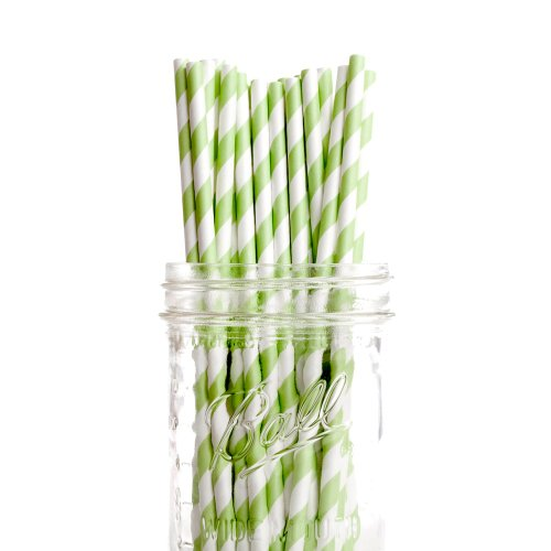 Dress My Cupcake Kiwi Green Striped Paper Straws, 50-Pack front-517379