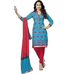 ZofianaFashions Cotton Embroidered Salwar Suit Dupatta Material (POS14)