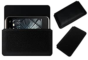 Acm Horizontal Leather Case For Lava Iris 349 Plus Mobile Cover Carry Pouch Holder Black