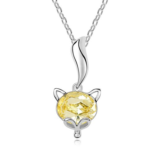 Mqueen Topaz Yellow Cute Fox Pendant Necklace front-322310