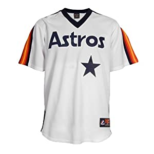 MLB Nolan Ryan Houston Astros 1986 Cooperstown Short Sleeve Synthetic Replica Jersey by Majestic