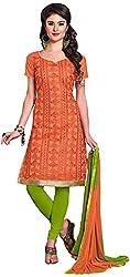 Manmauj Women's Cotton Unstitched Dress Material (MM10012DFNT, Orange)