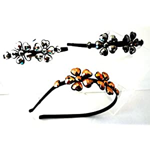 Rhinestone Bling Fashion Metal Headband Tiara with Metal Bling Flowers Set of 3