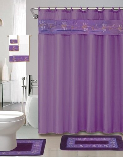 22 piece bath accessory set purple flower bath rug set for Purple and yellow bathroom accessories