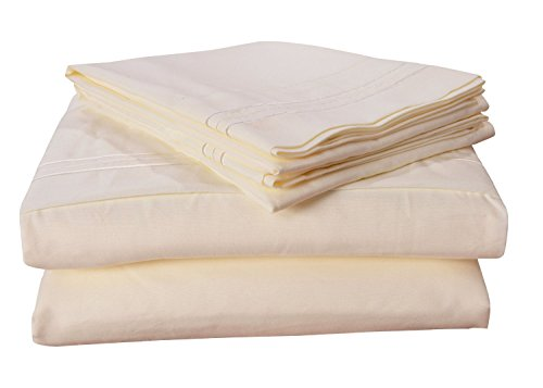 Honeymoon-Full-Size-4PC-bed-sheet-set-microfiber-Wrinkle-Freedeep-pocket-Parallel-stripe-Embroidery-Ivory-sheet-HM00108002F-IVORY