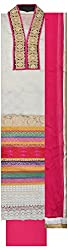 Threads Women's Chanderi Dress Material (Th7003_White And Pink)