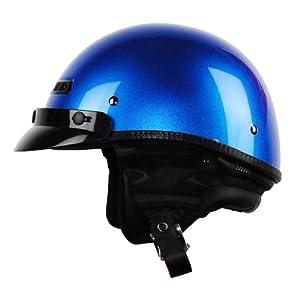 Vega XTA Touring Half Helmet (Ultra Blue Metallic, Medium)