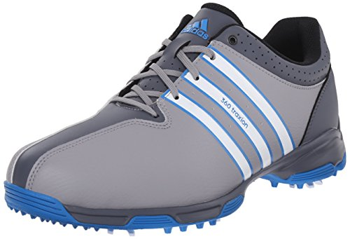adidas Men's 360 Traxion NWP Golf Cleated, Light Onix/FTWR White/Shock Blue  ...