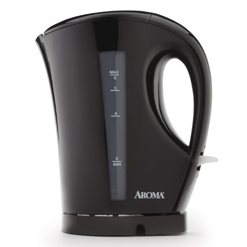 Aroma 1.5 Liter (6-Cup) Cordless Electric Water Kettle, Black