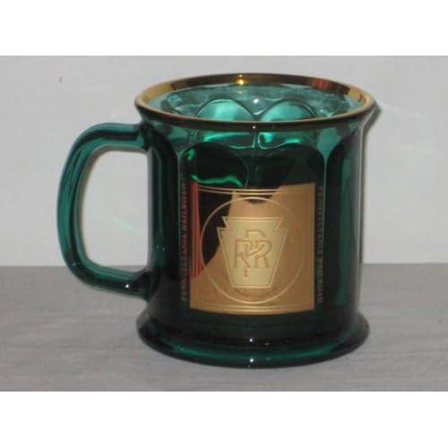 Pennsylvania Railroad Railway Train Emerald Green Glass Mug w/ 22 Karat Gold Logo & Trim