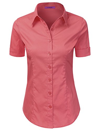 LA BASIC Womens Dress Shirts for Business Wear NEWCORAL 3XL