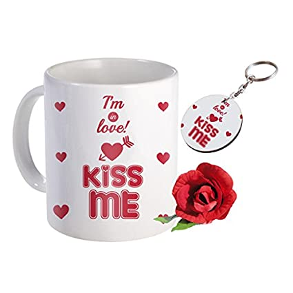 Sky Trends Valentine Combo Gift For Boyfriend Printed Coffee Mug Keychain Artificial Rose Gift For Kiss Day Propose day Promise Day Hug Day Rose Day Gifts