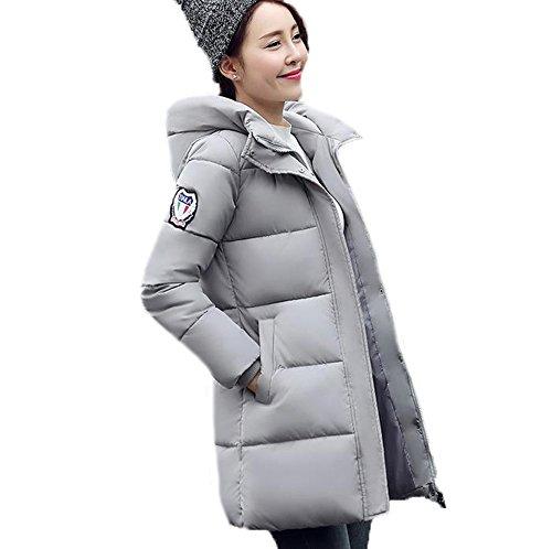 GuDeKeレディース 冬 アウター 軽量 ダウン ロング コート ダウン ジャケット 中綿 防寒 ゆったり フード付き 中綿 厚手 ダウンジャケット 大き目アウター 防風(グレー7.1.9)