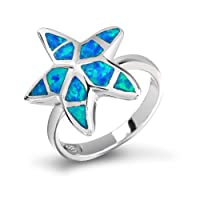 Bling Jewelry Hawaiian Jewelry Blue Opal Nautical Starfish Ring Sterling Silver from Bling Jewelry