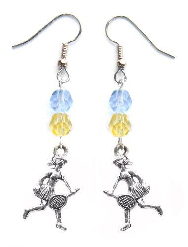 """Tennis Girl"" Tennis Earrings (Team Colors Light Blue & Gold)"