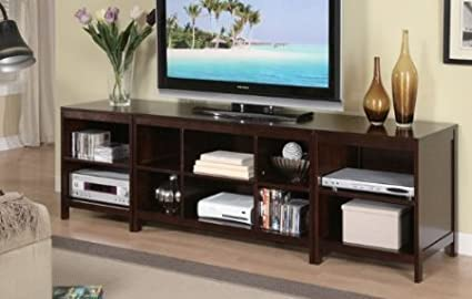 3 Piece TV Stand with Storage Shelves - Dark Espresso Finish