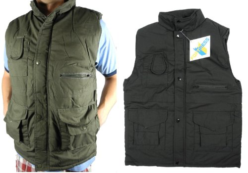 Mens Padded Fishing Hunting Utility Hiking Multi Pocket Waistcoat Black or Green