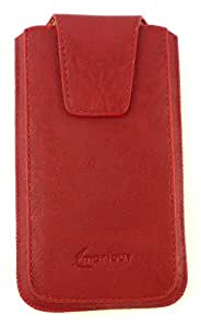 Emartbuy® Classic Range Red Luxury PU Leather Slide in Pouch Case Cover Sleeve Holder ( Size 3XL ) With Magnetic Flap & Pull Tab Mechanism Suitable For Yu Yunique