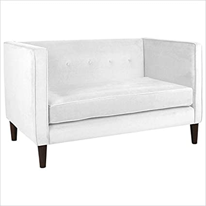 Skyline Furniture Five Button Loveseat in White