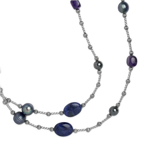Southwest Spirit Sterling Silver Shades of Blue Long Beaded Station Necklace - 36