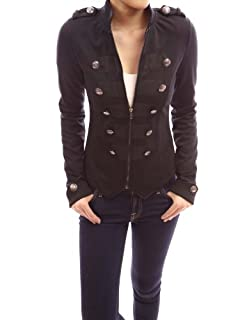 PattyBoutik Zip Up Front Long Sleeve Stand Collar Military Style Light Jacket (Black S)