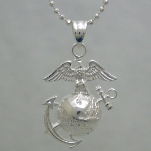 "Us Marine Corps .925 Sterling Silver Necklace - Marines Pendant And Chain - Great Gifts For Men And Women - United States Military Jewelry Emblem - Usmc Charm On Chain - Armed Forces Items - 20"" Silver Pendant And Chain"