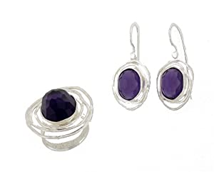 Silver Jewelry, 925 Sterling Silver Matching Earrings + Ring SET. Custom Hand Made and Designed in Israel by Bili Silver. Ring has 13/18mm Oval Faceted Synthetic Amethyst Purple Stone in size: 7, 8 . Earrings have 2 x 10/12mm Faceted Synthetic Amethyst Purple Stone with Safety locking Back. Shipped Directly from Tel Aviv Israel in a Gift Box. Great Gift for: Wedding Bridesmaid Bat Mitzvah Engagement Graduation Mother's Day Birthday Anniversary Valentine and Ladies at all Ages.