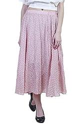 Showoff Women's Pink Cotton Calf-length Skirt
