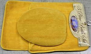 3 bathroom rug contour lid cover set