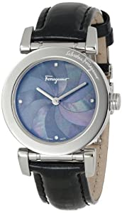 Salvatore Ferragamo Women's F50SBQ9909I SB09 Salvatore Black Mother-of-Pearl Leather Watch by Salvatore Ferragamo