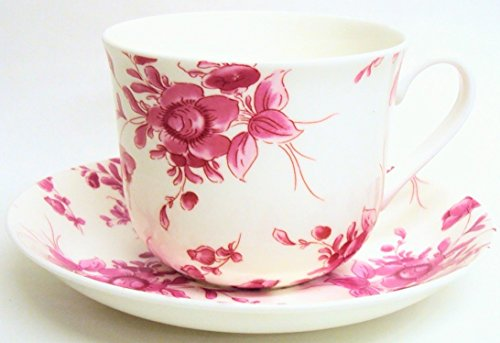 Eden Ruby Tasse et soucoupe en porcelaine anglaise Grand Rose Tasse et soucoupe pour petit déjeuner décorée à la main au Royaume-Uni Livraison