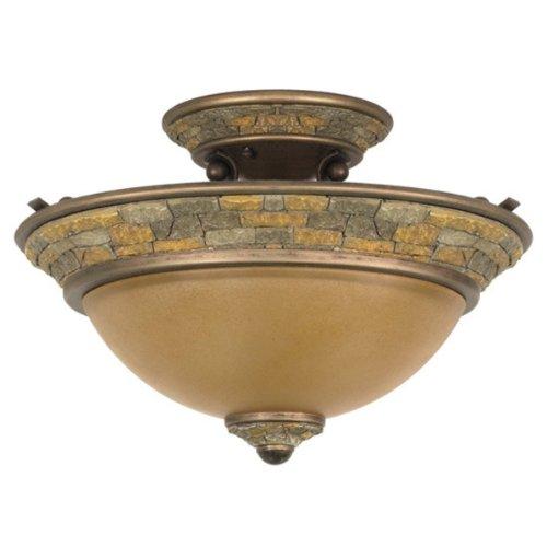 Nuvo 60-2471 (2 CFL) Semi-Flush Ceiling Fixture - Dorado Bronze/Sepia Colored Glass - Energy Star Qualified